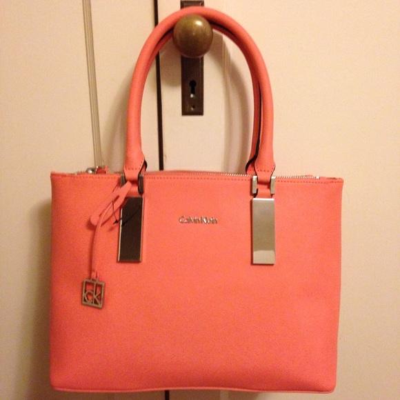 38% off Calvin Klein Handbags - NWT Calvin Klein coral saffiano ...