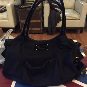 Kate Spade diaper bag.blk nylon w/ patent leather
