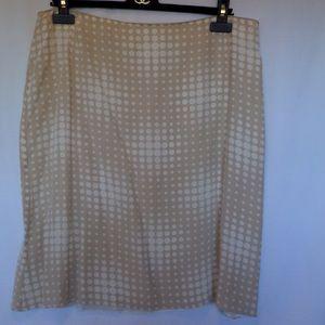 Akris Dresses & Skirts - 💋AKRIS Beige White Polka Dot Silk Skirt Sz 14