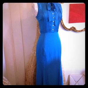 French Blue Trumpet Skirt Tie Front Maxi Dress