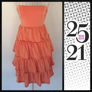 Coral tiered maxi/ tube dress J Crew