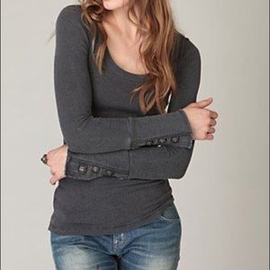 Free People Tops - Free People Charcoal Motor Cuff Thermal
