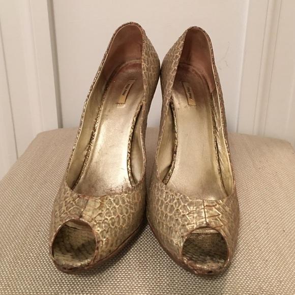 Miu Miu Shoes - Miu Miu gold Python heels