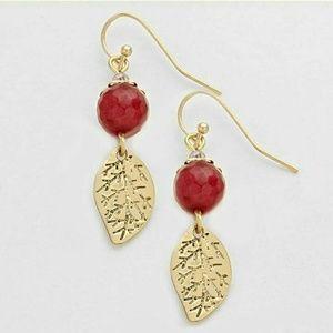 Gold & red leaf dangle earrings NWT