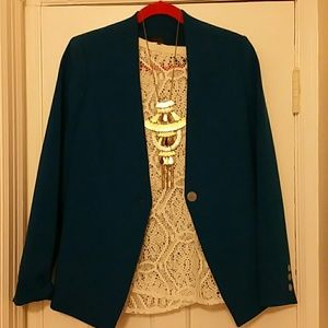 THE LIMITED Cobalt blue Lapel-less jacket.