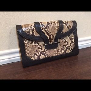 Leather Elaine Turner envelope clutch w/snakeskin