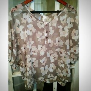 Francesca's Sheer Floral Blouse