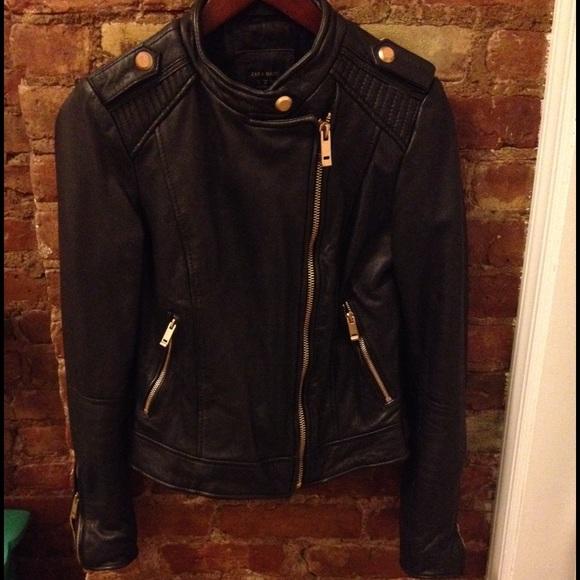 Zara - Zara leather jacket Sz M w/rose gold hardware from Amanda's ...