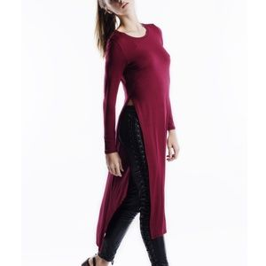 """Yours Truly"" Side Split Long Sleeve Maxi Top"