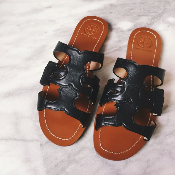 ec2825ee4 Tory Burch Shoes | Anchor T Leather Slide Sandals | Poshmark
