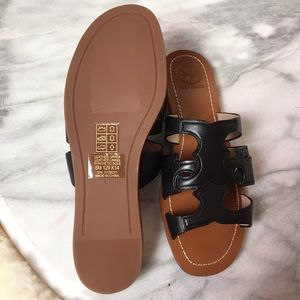 """4eb1a6273 Tory Burch Shoes - Tory Burch """"Anchor T"""" Leather Slide Sandals"""