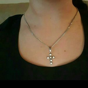 Jewelry - Stainless steel necklace cross cz pendant
