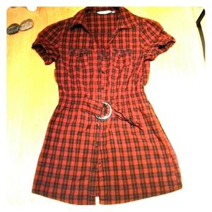 Tops - Red and black plaid long cotton top with belt.