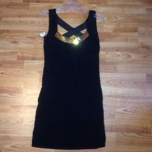 ROMEO & JULIET COUTURE SZ LARGE BLACK & GOLD DRESS