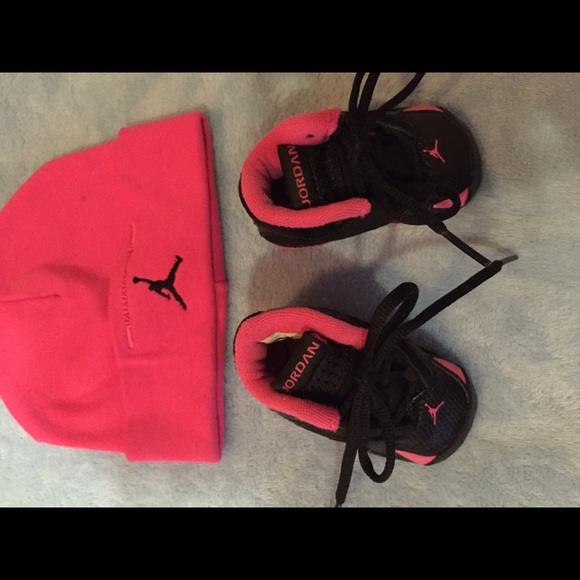 Jordan Shoes - Hot Pink Baby Jordan s   Matching Hat 90c09e075c0