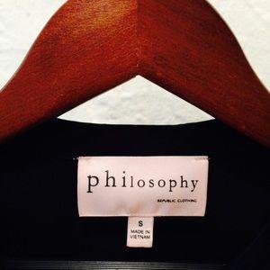 Philosophy Black Long Sleeve High Low Top