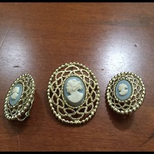 Vintage cameo pin, necklace, earring set.