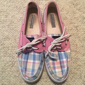 Plaid pink and blue sperry boat shoes