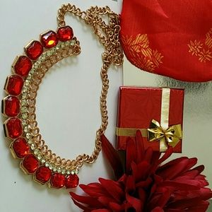 red necklace make a statement