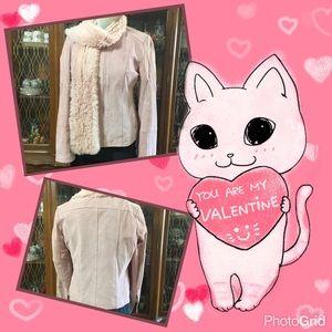 Pink suede / fur scarf jacket