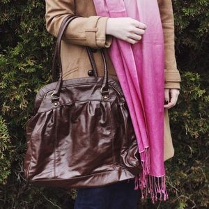 H&M   Brown faux leather bag