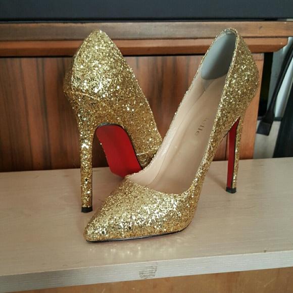 4b6deb687e5 Bella Belle Shoes - Gold glitter red bottom shoes