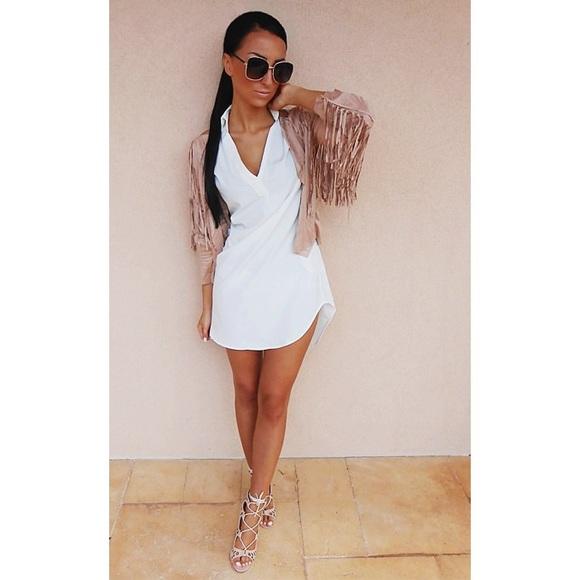 6c459796faca white long sleeve loose shirt dress