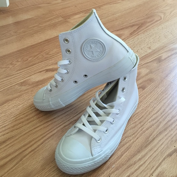 e645b9b77f7 Converse Shoes - Brand new white all leather high top converse 7.5