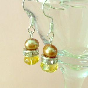 Gold Freshwater Pearls & Swarovski Bead Earrings