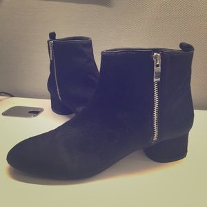 Zara black haircalf ankle booties