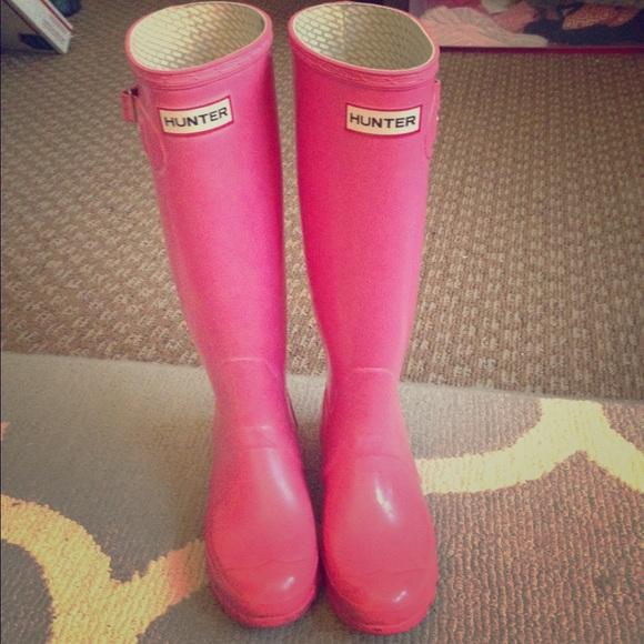 Tall Pink Hunter Rain Boots Size 6