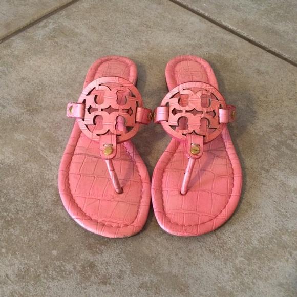 8421f53fd Tory burch miller sandal in bright pink coral. M 5612f262680278d02e01c5a5
