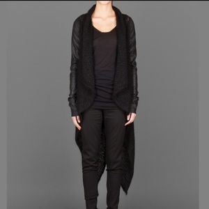 Isabel Benenato Sweaters - ISABEL BENENATO leather sleeves long cardigan