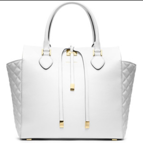 Tote Bag On Sale, Optic White, Leather, 2017, one size Michael Kors