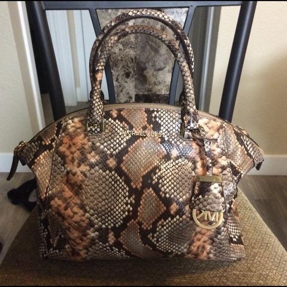 70af53c86970 Michael Kors Bags | Riley Snake Satchel Bag | Poshmark