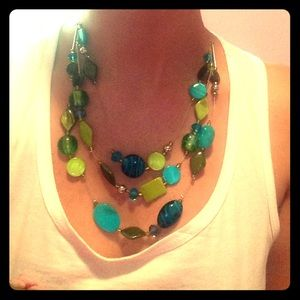 Three layered statement necklace