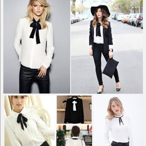 Zara Tops White Blouse With Black Bow Poshmark