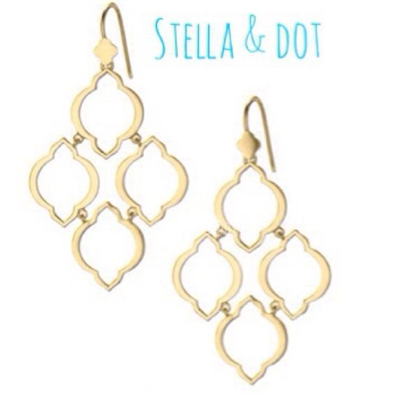 Stella Dot Jardin Chandelier Earrings Gold Arabesque