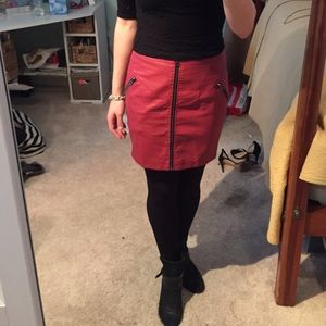 Top Shop Red leather skirt with zippers