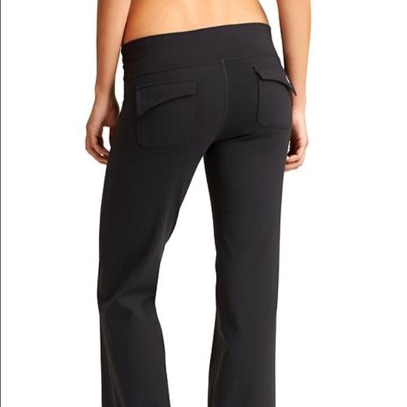 62% off Athleta Pants - Athleta Black Flare Leg Flap Pocket Yoga ...
