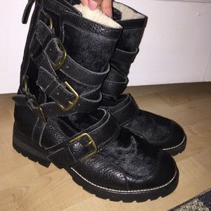 Combat buckle booties, real pony hair and leather