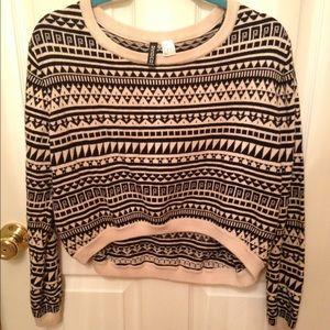 Black & cream Aztec high low sweater