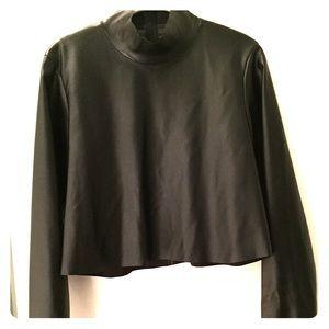 Zara Woman faux leather mock neck top.