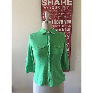 Loro Piana Tops - Loro Piana Green 3/4 Sleeve Top