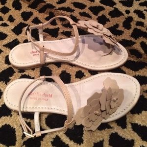 Charles David flower sandals gently used