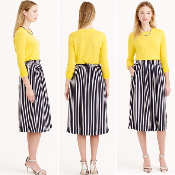 753be547d420 J. Crew Skirts | J Crew Pleated Midi Skirt In Stripe Navywhite ...