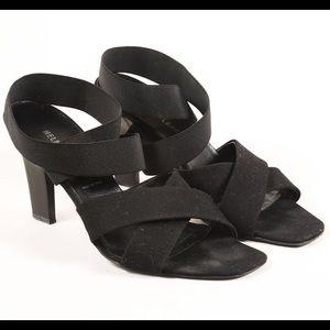 Black Elastic Ankle Wrap Heeled Sandals