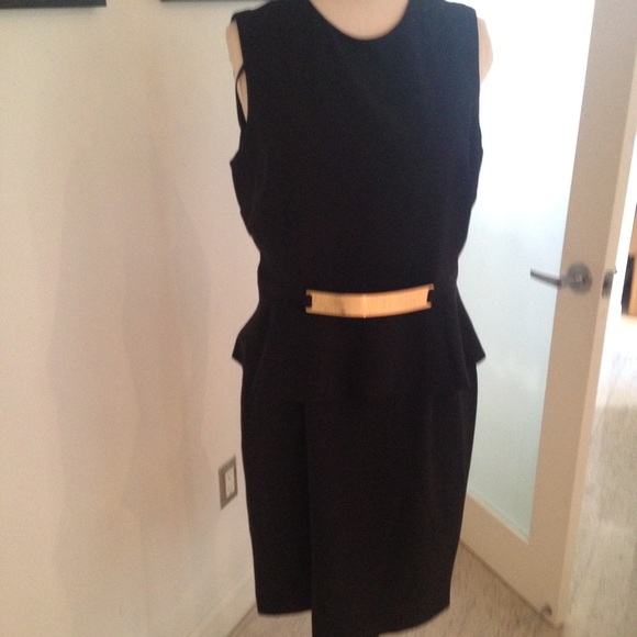 55 dresses skirts black peplum dress with gold