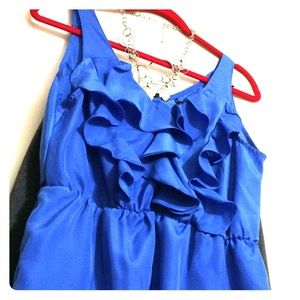 Zinga Tops - 🌟PRICE REDUCED🌟Blue ruffled sleeveless blouse