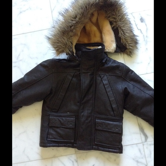 70% off Other - Boys Brown Leather Shearling Coat Size 2T from ...